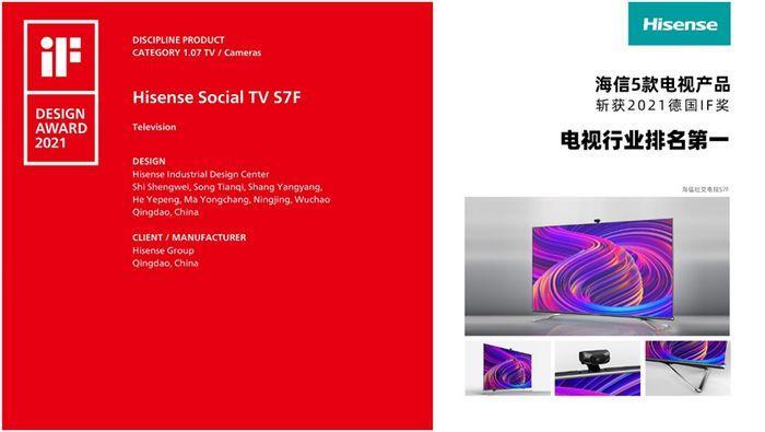 iF设计奖获奖名单揭晓 海信电视斩获5项大奖(图1)